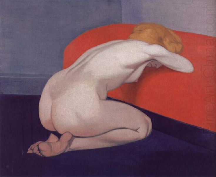 Nude Kneeling Against A Red Sofa, Felix Vallotton
