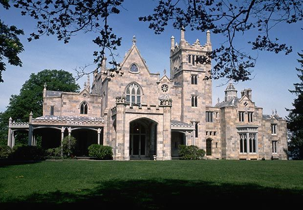 "Lyndhurst Castle, Tarrytown, N.Y.  Narrow hallways, pointy arched windows and peaked ceilings made this Gothic Revival castle — originally owned by New York City Mayor William Paulding Jr. in 1838 — an ideal ""Collinwood"" for two Dark Shadows movies. The National Trust for Historic Preservation home was last occupied by genuine nobility: Anna Gould, Duchess of Talleyrand-Périgord."