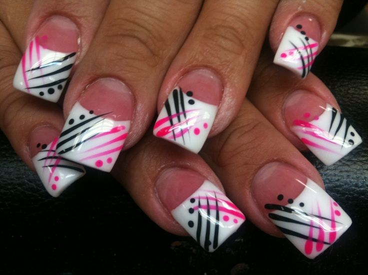 Don't have long enough finger nails for this, but I love these, but instead of pink I would do red