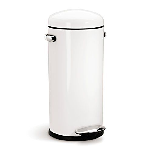 Simplehuman Round Retro Step Trash Can White Steel 30 L 8 Gal