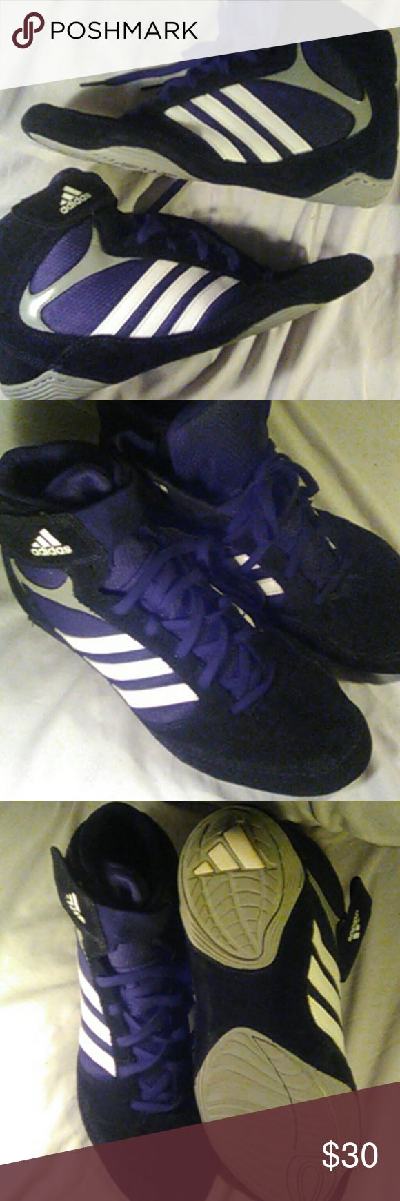 Adidas kick boxing or Wrestling or Boxing shoea Black, white, gray barely used. Suede Adidas Shoes Athletic Shoes