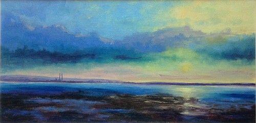 """Jane Meyler """"Sunset from Sutton"""" #sunset #art #water #sea #painting #DukeStreetGallery"""