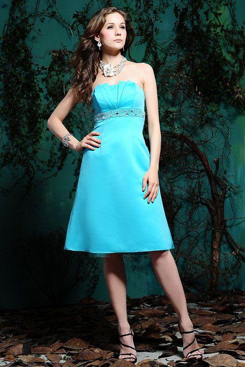 Scalloped-edge satin bridesmaid dress with empire waist