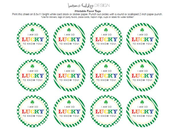 Free St. Patrick's Day Favor Tags – I'm So Lucky To Know You!