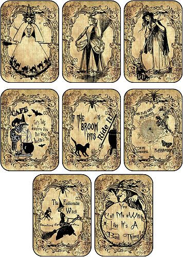 Halloween 8 Witches Labels Stickers Scrapbooking Party Decoration | eBay