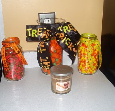 fall decor....using candy is an easy way to decorate!