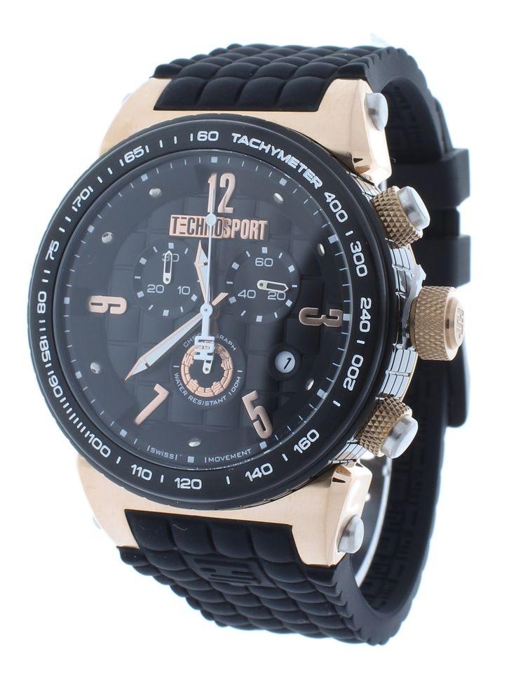 Technosport TS-1300-1 Men's Black Checkered Swiss Chrono Watch Rose Gold Accents Black Silicone Strap