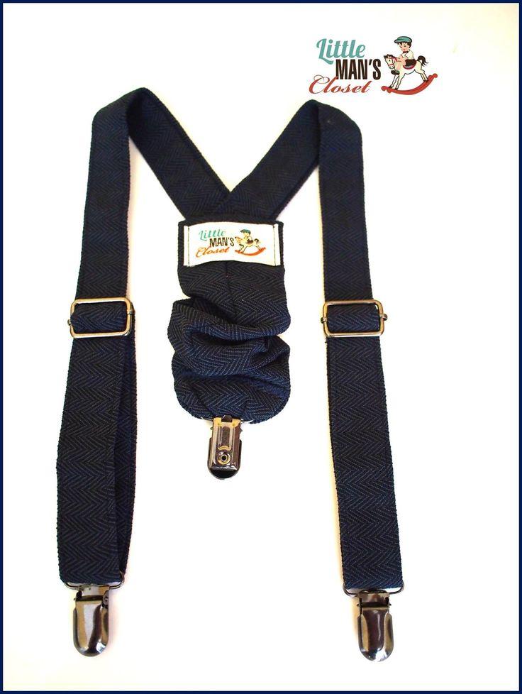 Navy blue herringbone handmade suspenders boys infants braces baby