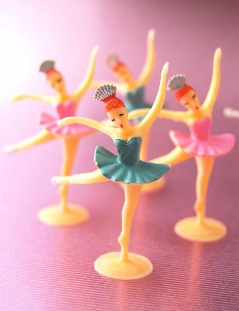 Ballerinas cake decor~I remember these on birthday cakes as a child---licking the frosting off the bottom. (new writer): I had these on my birthday cakes too. I started ballet at 3, and loved watching 'the big girls'. This is such a good memory. Thank you for sharing. - jbw