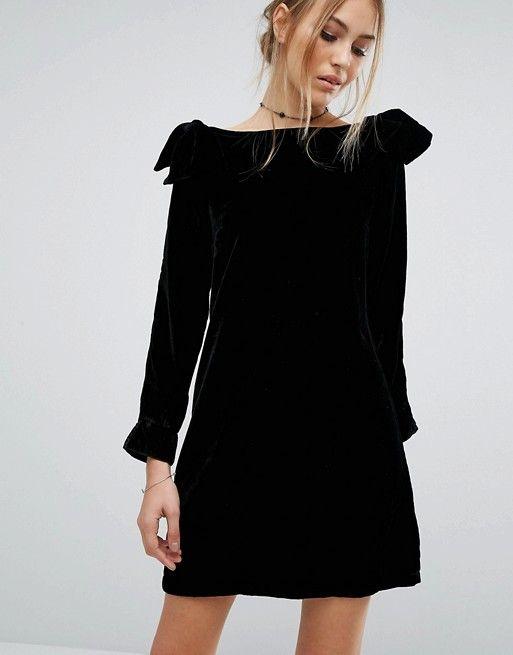 French Connection | Vestido de terciopelo con detalle de lazo Nova de French Connection