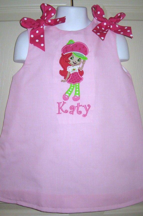 strawberry shortcake dress for Elena's birthday!