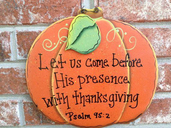 Pumpkin Bible Verse Sign Fall Home Decor Hanger Autumn Decor Sign on Etsy, $12.00