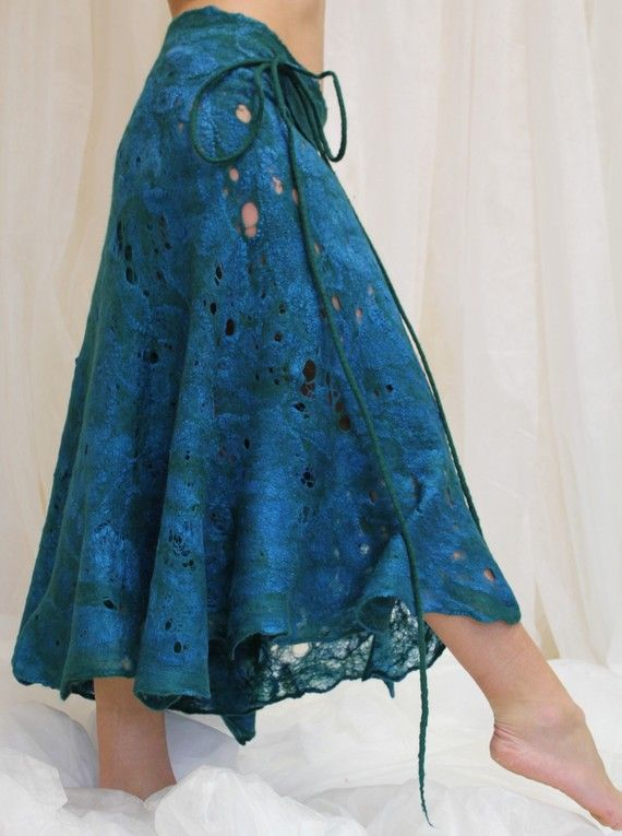 "Cobweb felted skirt ""THE SEA DANCE"""
