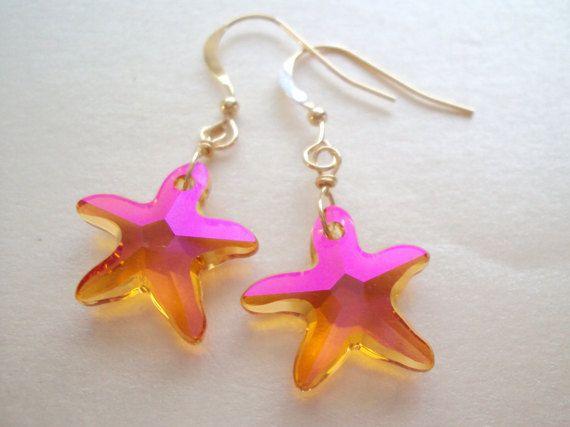 Swarovski Sea Star dangly earrings in gold plated brass