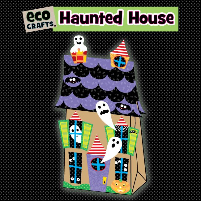Eco crafts paper bag haunted house eco craft for How to make a cardboard haunted house