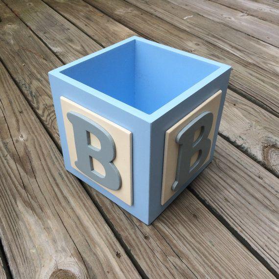 Baby Boy Centerpiece Blue/White Centerpiece Baby by TBQBoutique