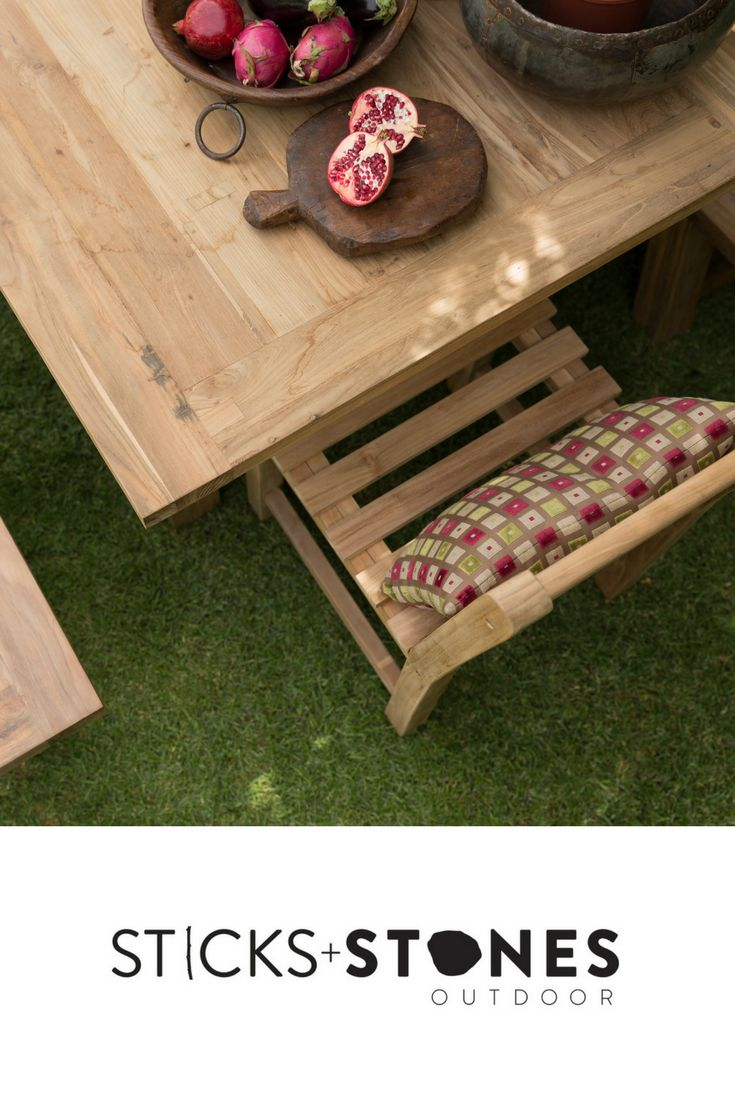 Our Reclaimed Teak Dining Table is perfect for any indoor/outdoor landscape. It comes in a variety of sizes. At Sticks + Stones Outdoor, we travel the globe to source the most stunning, affordable, practical and stylish items to help you create your own beautiful outdoor space. #outdoorfurniture #teak #homestyling #furniture