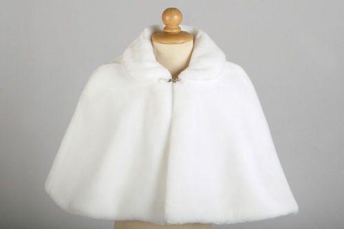 White/Ivory/Red/Black flower Girl fur Cape Cloaks Faux Fur Jacket for flower girl dress Winter Kid Shrug Outerwear Coats