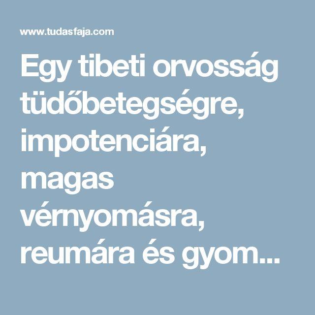 Egy tibeti orvosság tüdőbetegségre, impotenciára, magas vérnyomásra, reumára és gyomorhurutra