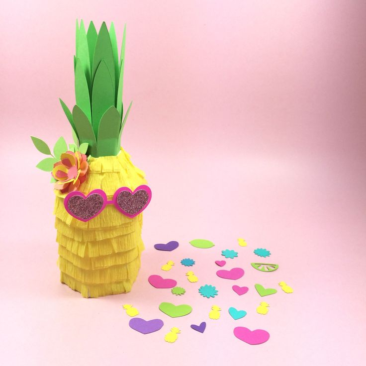 Pineapple Piñata Decoration, Tutti Fruitti, Mini Pineapple Piñata, Heart Glasses, Tropical Party, Luau, Hawaiian Party Decorations -SET OF 3 by LulaFlora on Etsy https://www.etsy.com/listing/286494559/pineapple-pinata-decoration-tutti