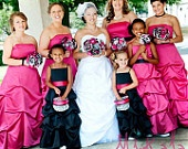 Punk'D Wedding Bouquet Hot Pink Black Silver and White. $140.00, via Etsy.