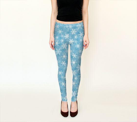 Snowflakes Leggings - Available Here: http://artofwhere.com/shop/product/32454