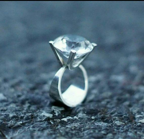 Uni David Andersen Vintage Norwegian Sterling Silver and Rock Crystal Iconic Modernist Ring