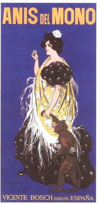 "Ramon Casas Carbó (1866-1932). Cartel para ""Anís del Mono"", 1898. Cromolitogarfía. 218 x 105 cm. Colección Carulla. Barcelona. España."