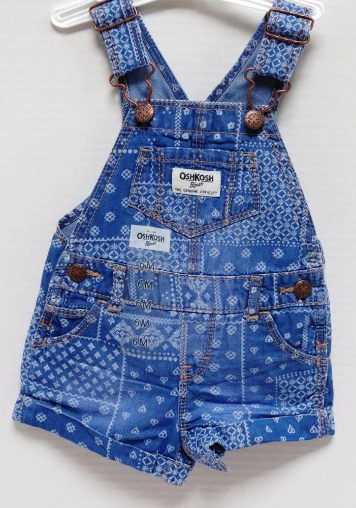 1e9be5e1445 NEW Oshkosh B gosh Baby Girls  Patchwork Cotton Denim Shortalls Size 6  Months