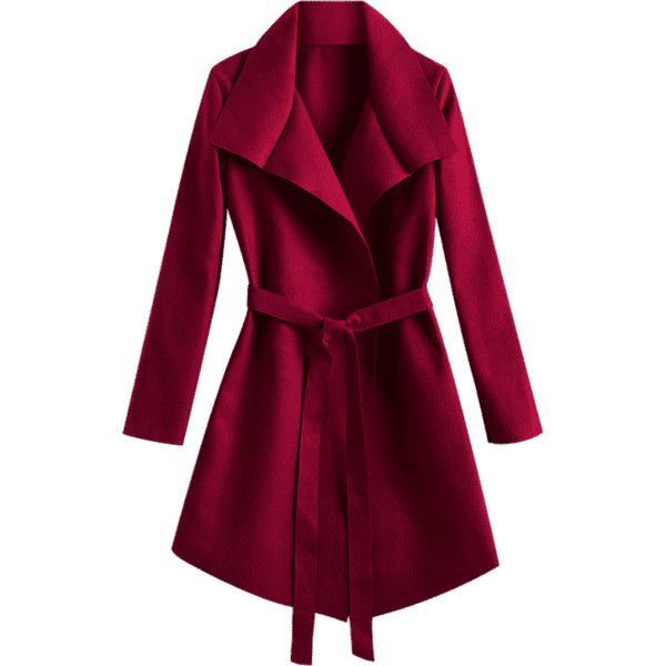 Belted Asymmetrical Wool Blend Coat (220 GTQ) ❤ liked on Polyvore featuring outerwear, coats, jackets, zaful, purple coats, asymmetrical wool blend coat, wool blend coat, asymmetrical coats and belted coats
