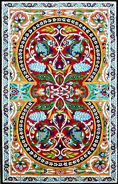 DECORATIVE TURKISH TILES: Turkish design mosaic panel hand painted wall mural kitchen bath pool patio art tile 60in x 36in