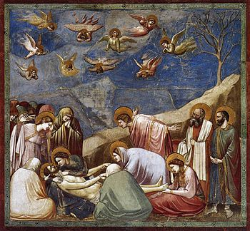 The following art is known as the Lamentation of Christ. Which shows, Jesus body after been crucified his lifeless body was removed from the cross . Jesus body was held by his mother Mary, while friends, angels and family stood directly around mourning over his lifeless body giving the atmosphere of this art a unhappy, sombre and tearful mood.