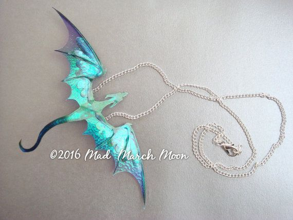 Dragon Necklace, Handmade, Blue Purple, Acrylic & Acetate, rich colour transparent iridescent Dragon with 22cm silver plated chain necklace