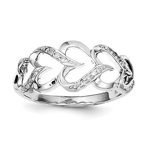 Sterling Silver Rhodium-plated Polished Pave Diamond Accent Heart Ring Sz 6-8