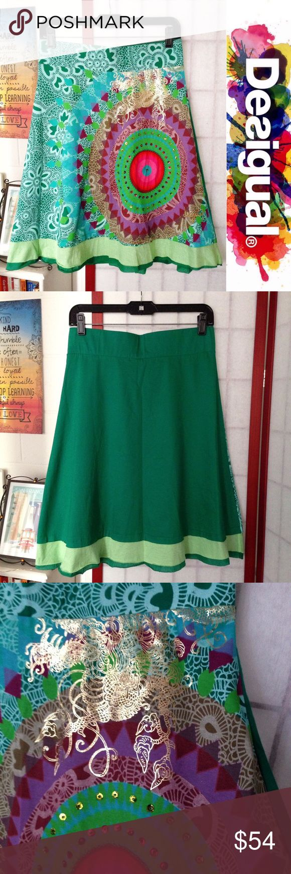 """Desigual (NWOT) Gardner knee skirt ✨statement✨ Size S (hip is elastic & aprox 14 3/4"""" flat across) • 100% cotton • NO FLAWS & NEVER WORN! • Length of skirt is aprox 23.5"""" • Lots of sequined embellishments & gold foil dragon-like pattern • Orginally purchased at Desigual's Ala Moana store in Honolulu, HI • Any questions, ask away!  Desigual Skirts A-Line or Full"""