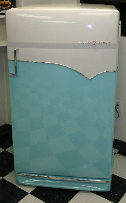 Vintage aqua-coloured, streamline modern, GE refrigerator, ca.1950s - refrigeration awesomeness
