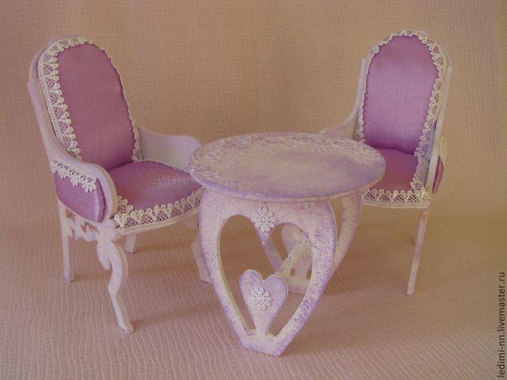 Купить Кукольная мебель Ажурная, румбокс, миниатюра, кукольный домик, дом - бледно-сиреневый