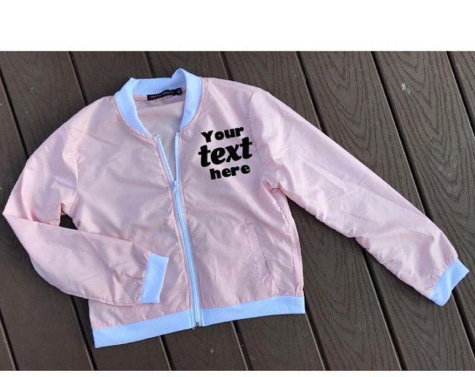 6d9b552ec CUSTOM / Personalized Bomber Jacket / Light Pink Jacket / Monogram ...