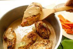 Pollo en salsa de ajo y limón