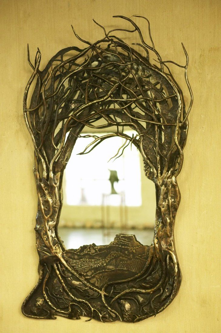 functional metal wall art mirror mirror on the wall: tree scene metal wall art