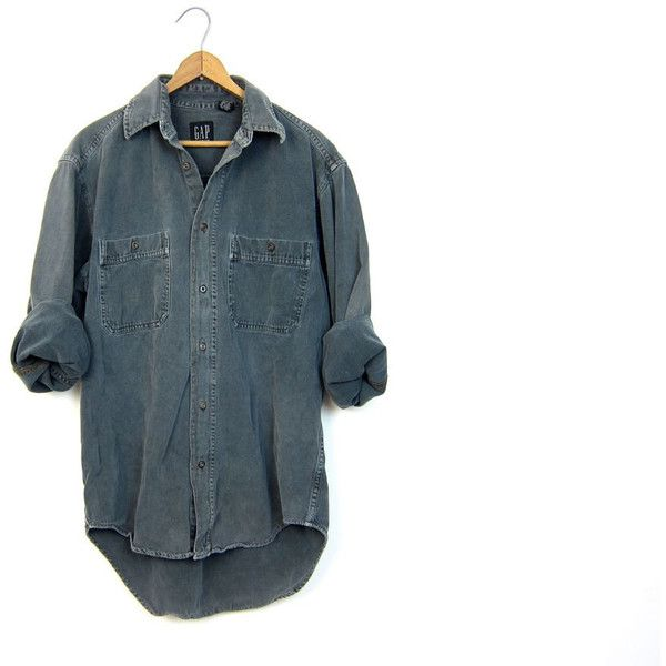 Vintage Faded Green Grey Jean Shirt Mens Denim Shirt Worn in Button Up... ($28) ❤ liked on Polyvore featuring men's fashion, men's clothing, men's jeans, mens vintage jeans, mens cotton jeans, mens gray jeans, mens denim jeans and mens jeans