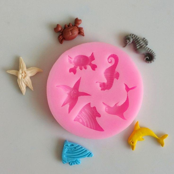 Animais do mar Molde de Silicone de Decoração Do Bolo Ferramenta de Molde Fondant Cavalo Marinho Novas Conchas em   de   no AliExpress.com | Alibaba Group