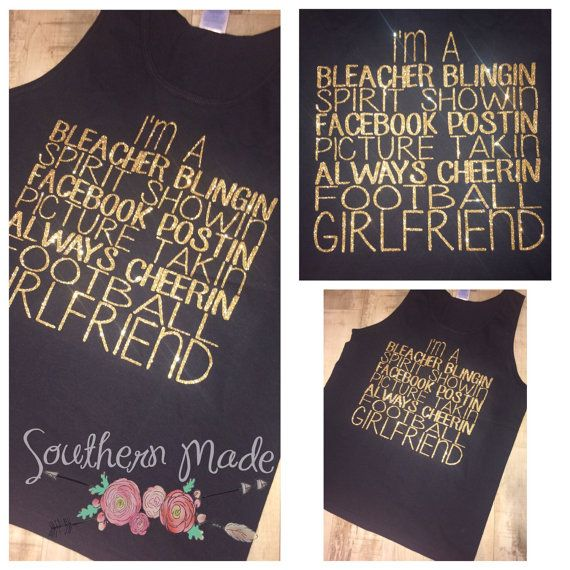 Football Girlfriend Monogrammed Glitter Tank by SouthernMadeLLC