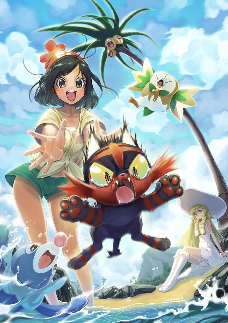 Look  She's happy that she's dropping Litten into the ocean  She's a monster