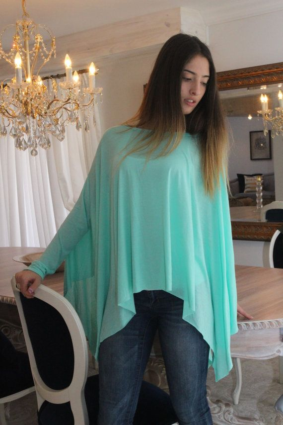 Chemise ample / Oversize menthe vert femmes Chemise / chemisier à manches longues / Yoga