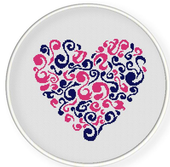 Instant Download,Free shipping,Cross stitch pattern, Crossstitch PDF,heart pattern , cross stitch pillow pattern,zxxc0229