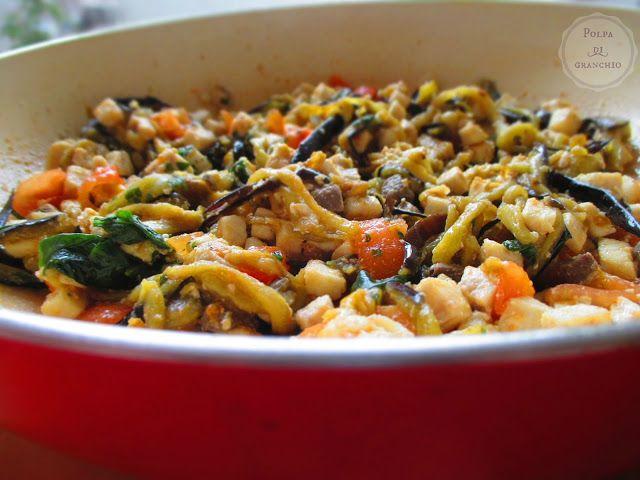 Polpa di granchio: Pasta con pesce spada e melanzane