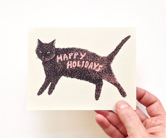 HAPPY HOLIDAYS KITTY  Screen Printed Christmas by triangletrees