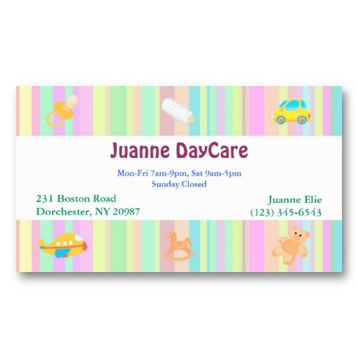 20 best child care business cards images on pinterest business cute kids baby toys daycare babysitter or nanny business card its perfect for colourmoves