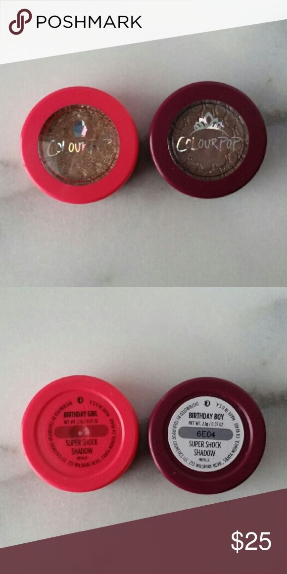 Colourpop Limited Edition Super Shock Shadows Colourpop Limited Edition (discontinued) Super Shock Shadows in Birthday Girl & Birthday Boy. Both have been swatched/used 1-2 times.   Only selling on PM. No trades. Colourpop Makeup Eyeshadow